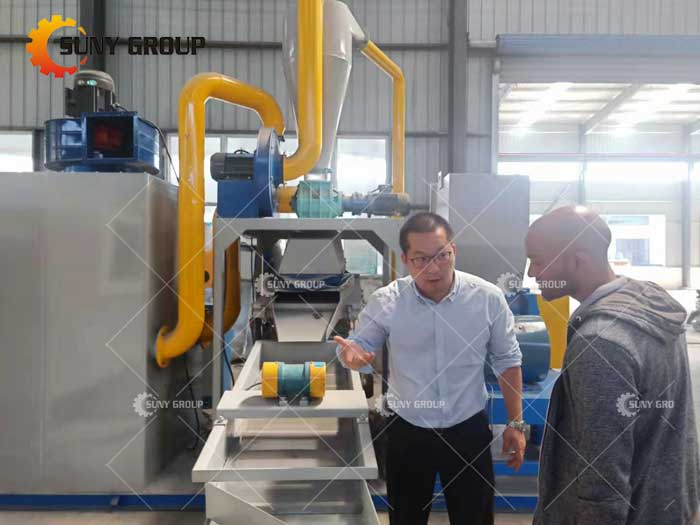 Welcome Portuguese customers to visit our factory to inspect Cable Wire Recycling Machine and other equipment.