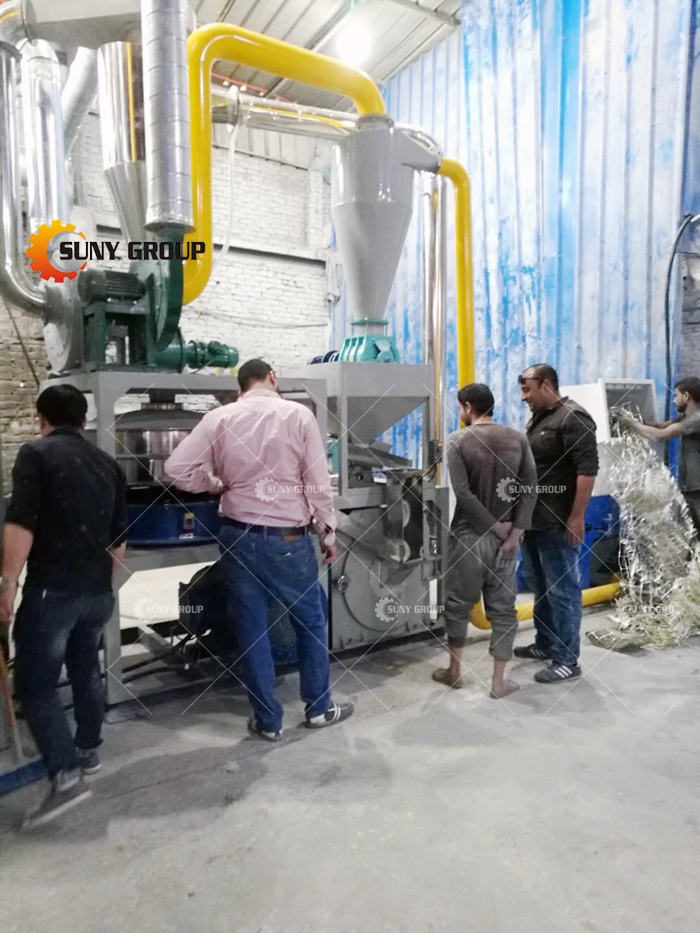 Egyptian customer Aluminum-plastic recycling line work site